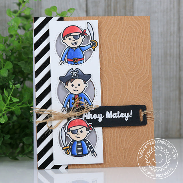 Sunny Studio Stamps Pirate Pals Ahoy Matey Card featuring Window Trio Circle dies