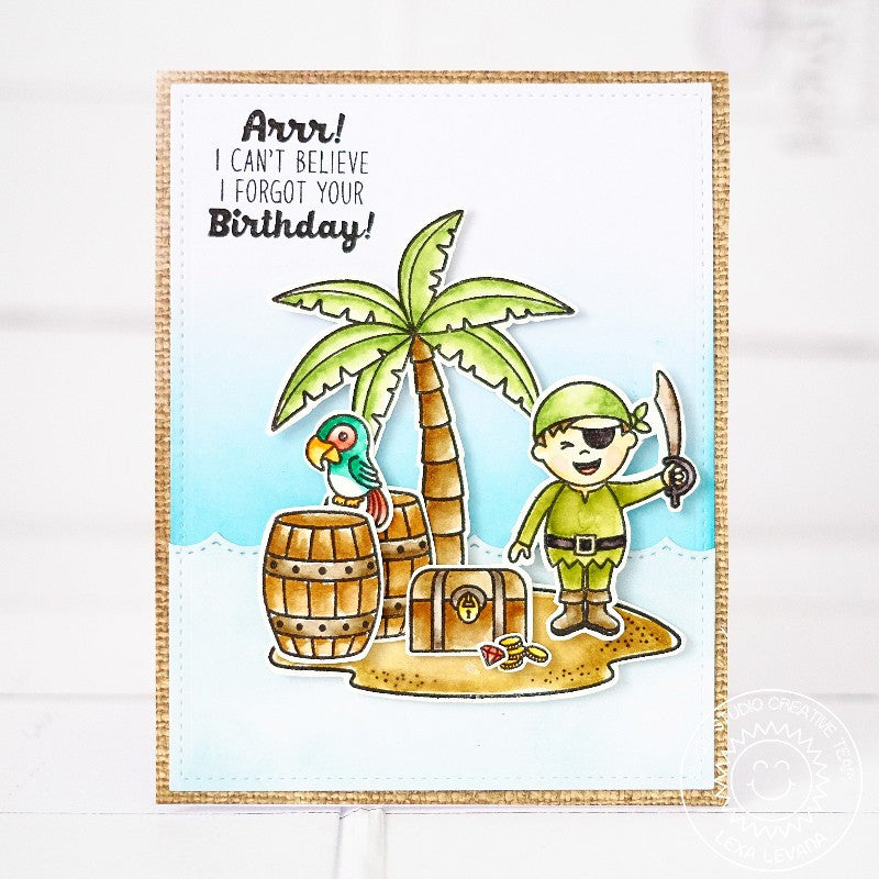 Sunny Studio Stamps Pirate Pals Pirate & Parrot Belated Birthday Card