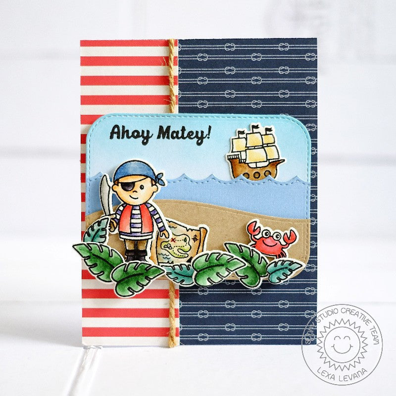 Sunny Studio Stamps Pirate Pals Nautical Card with Stitched Scallop Ocean Waves