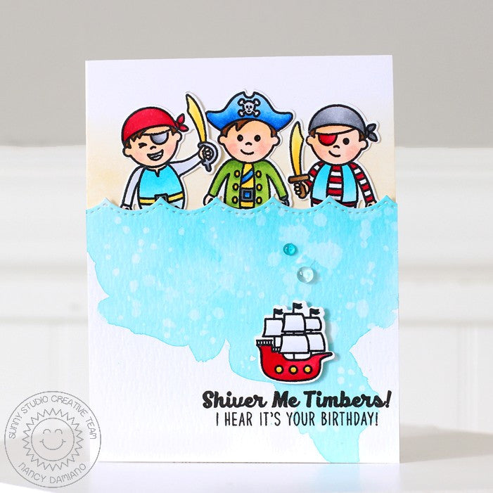 Sunny Studio Stamps Pirate Pals Pirate Trio Birthday Card