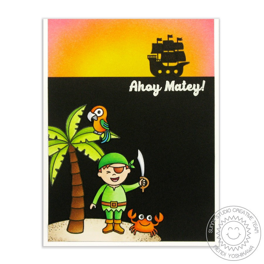 Sunny Studio Stamps Pirate Pals Ahoy Matey Pirate Ship Card