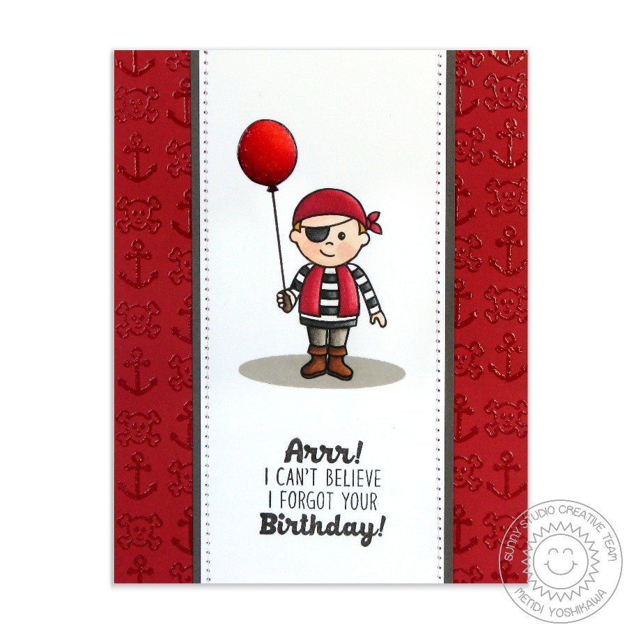 Sunny Studio Stamps Pirate Pals Red Balloon Birthday Card
