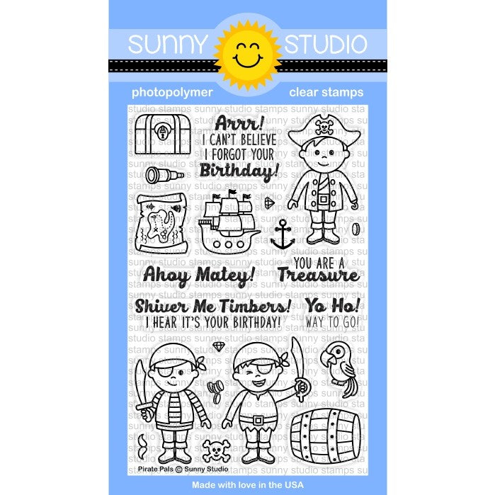 Sunny Studio Stamps Pirate Pals 4x6 Clear Photopolymer Stamp Set