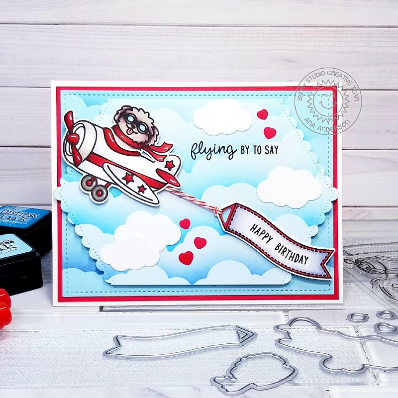Sunny Studio Stamps Plane Awesome Dog Flying in Airplane Handmade Birthday Card by Ana Anderson