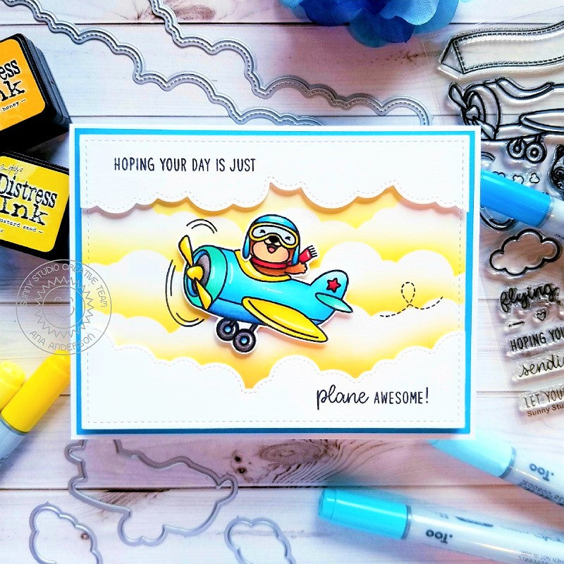 Sunny Studio Stamps Plane Awesome Critter in Airplane Handmade Card (using Fluffy Clouds Stitched Border Dies)