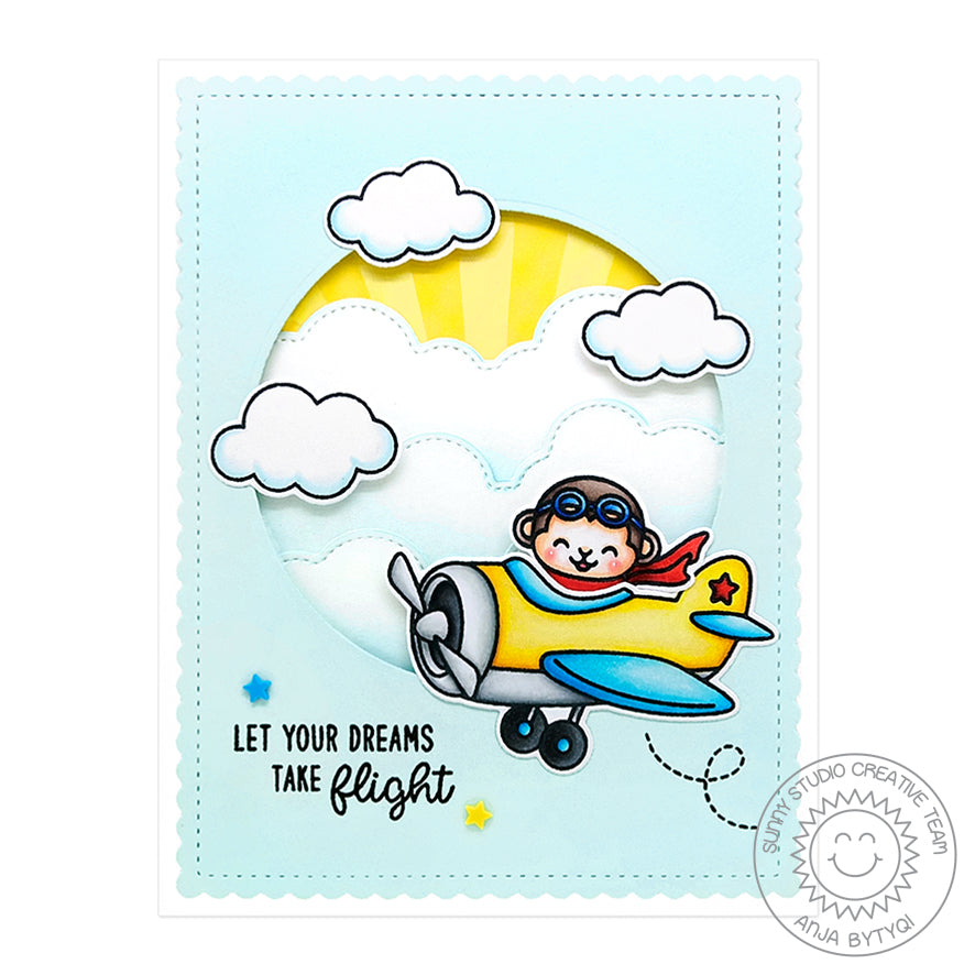 Sunny Studio Stamps Plane Awesome Circular Window Airplane Card with Fluffy Cloud Borders and Yellow Sunburst Paper
