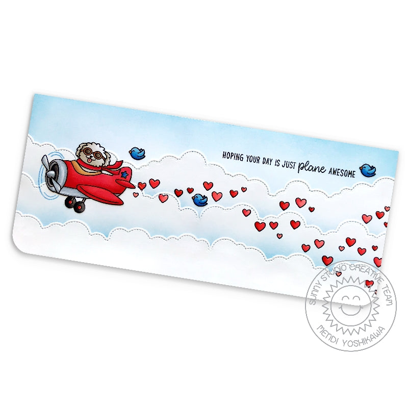 Sunny Studio Stamps Hoping Your Day is Just Plane Awesome Punny Red Airplane in the Clouds with Trailing Hearts Elongated Handmade Card