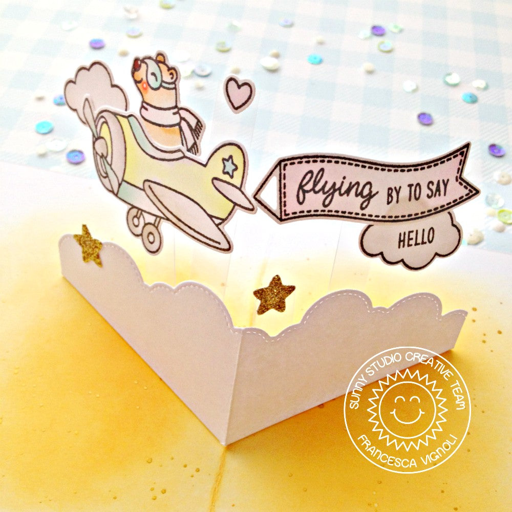 Sunny Studio Stamps Flying By To Say Hello Bear in Airplane Pop-up Card (using Fluffy Clouds Stitched Border Dies)