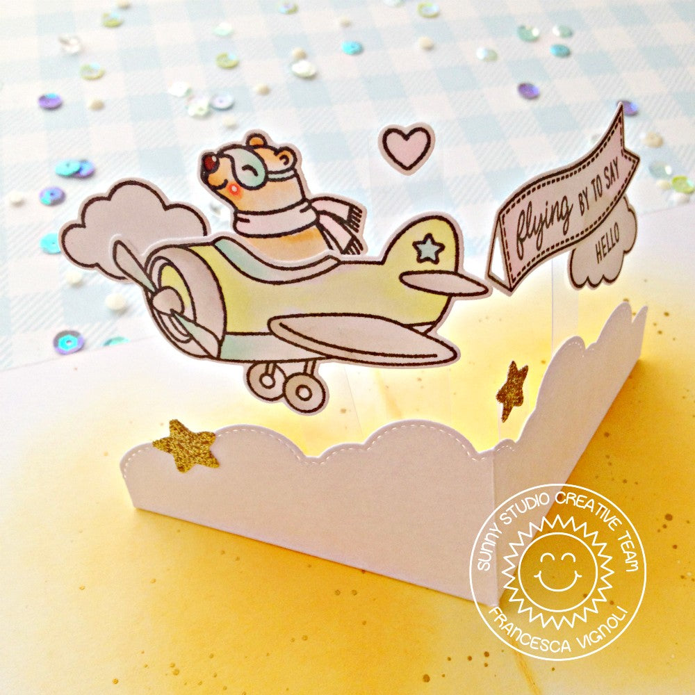 Sunny Studio Stamps Plane Awesome Bear Flying Airplane Handmade Interactive Pop-up Card