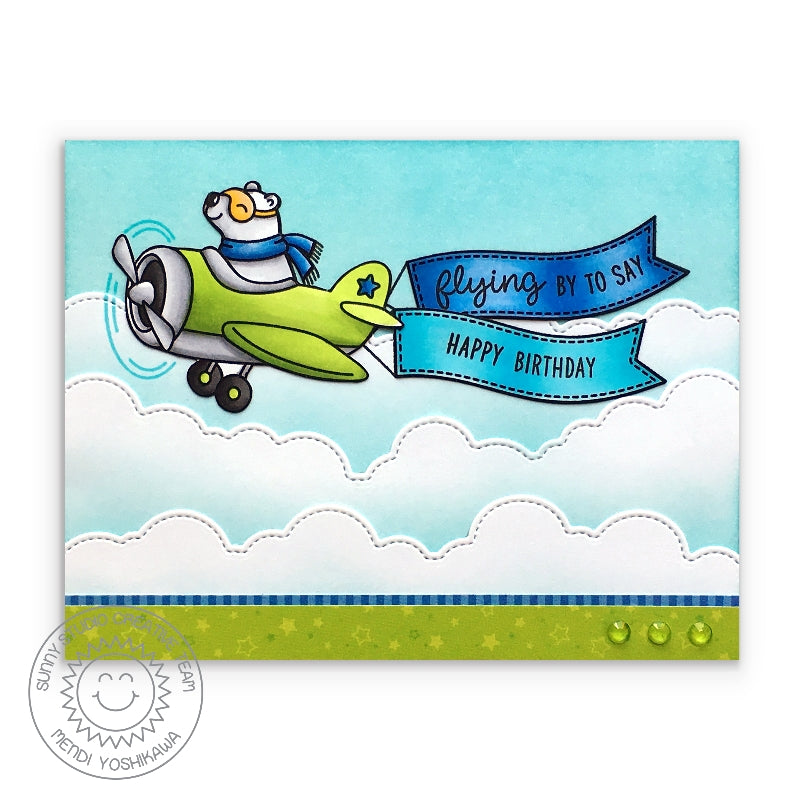 "Sunny Studio Stamps Plane Awesome ""Flying By To Say Happy Birthday Blue & Green Airplane with Bear Card"