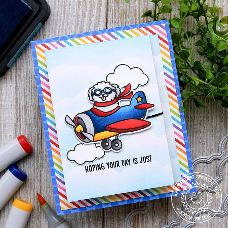 Sunny Studio Stamps Plane Awesome Dog in Airplane Rainbow Striped Handmade Card by Juliana Michaels