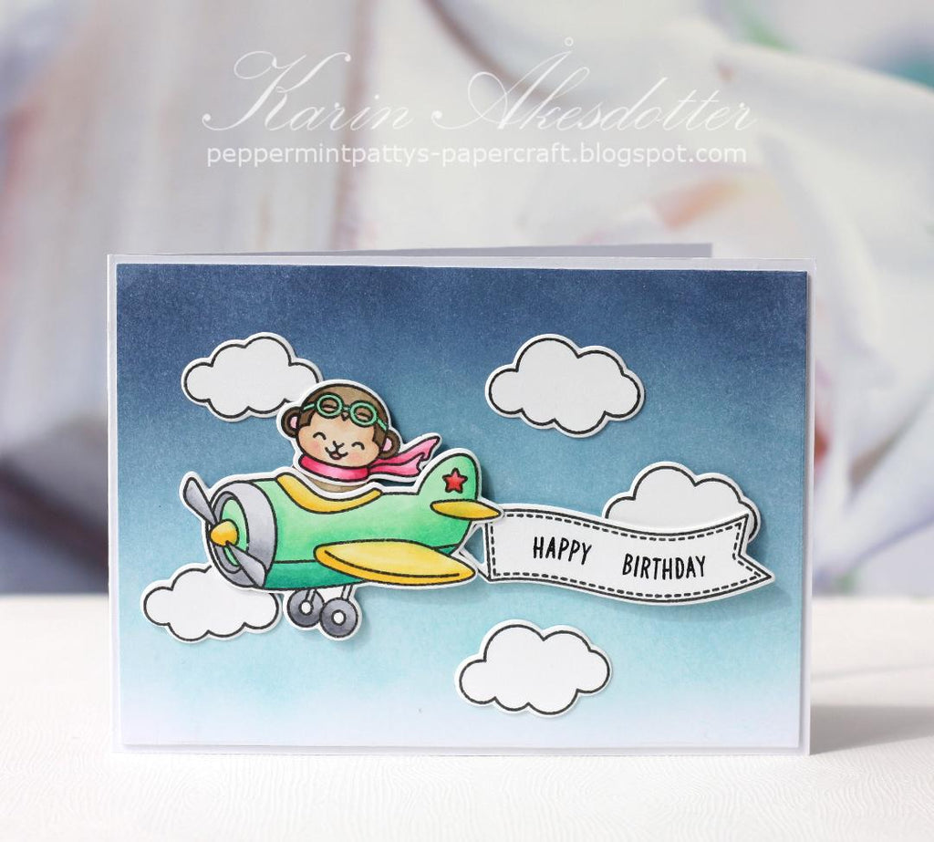 Sunny Studio Stamps Plane Awesome Monkey Flying in Airplane Handmade Birthday Card by Karin