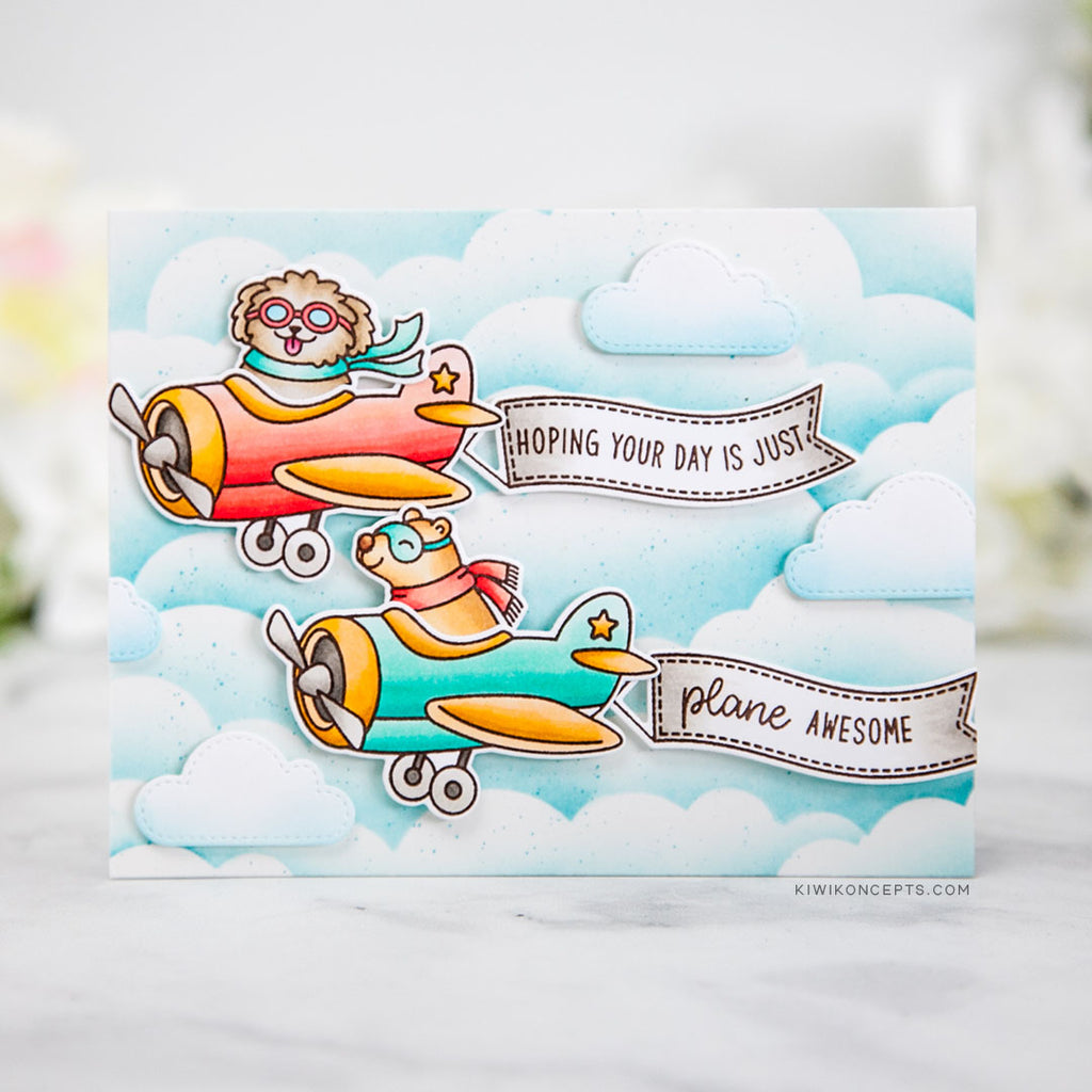 Sunny Studio Stamps Plane Awesome Critters in Airplanes Fluffy Clouds Handmade Card by