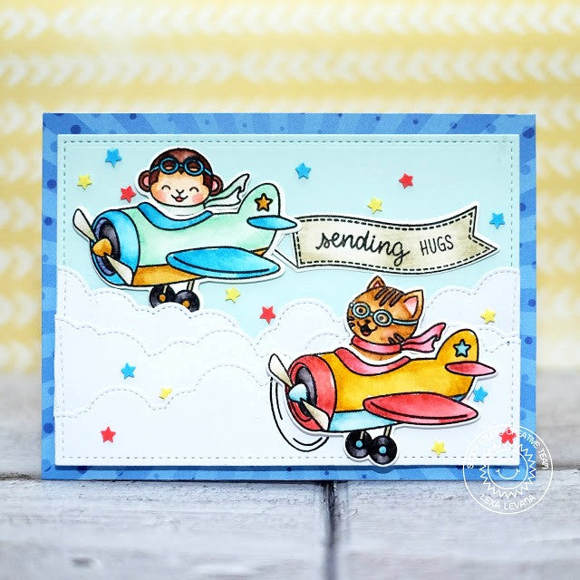 Sunny Studio Stamps Plane Awesome Airplane Handmade Card by Lexa Levana (using Stitched Fluffy Cloud Border Dies)