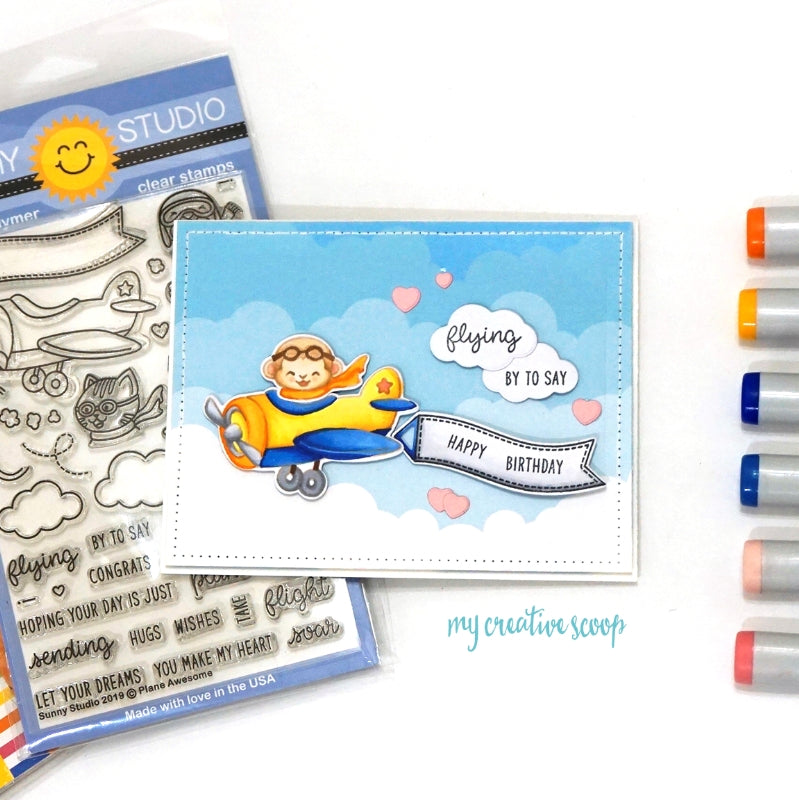 Sunny Studio Stamps Plane Awesome Airplane Handmade Card by Mindy Baxter (using no-line Copic Coloring)