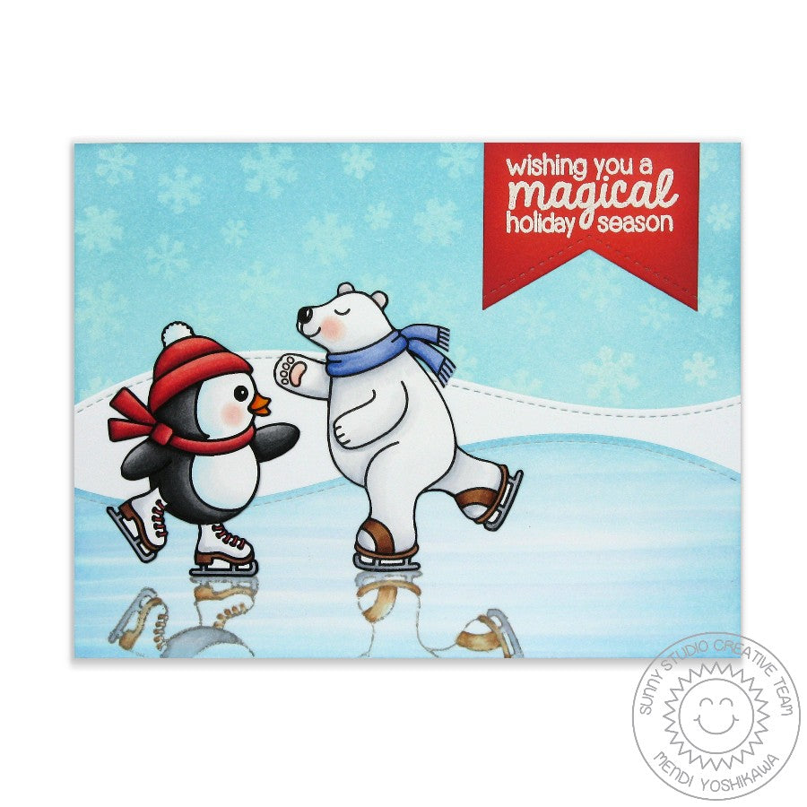 Sunny Studio Stamps Snow Flurries Polar Bear & Penguin Christmas Card