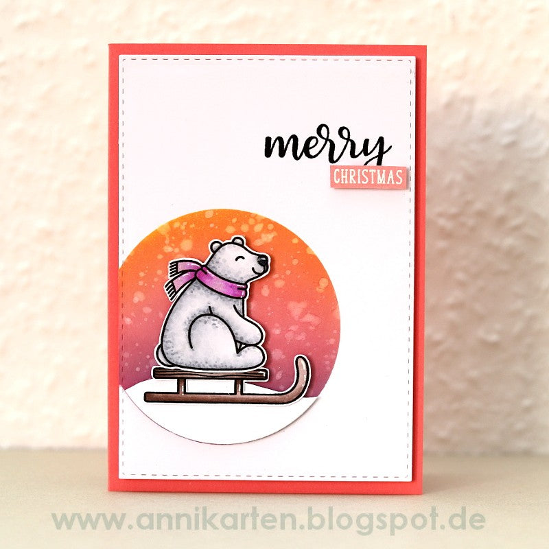 Sunny Studio Stamps Festive Greetings Pink Polar Bear Christmas Card