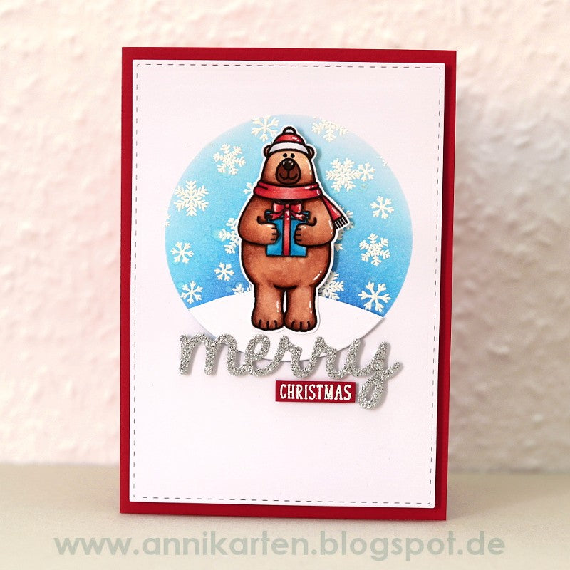 Sunny Studio Stamps Snow Flurries Teddy Bear Christmas Card by Anni Lerche