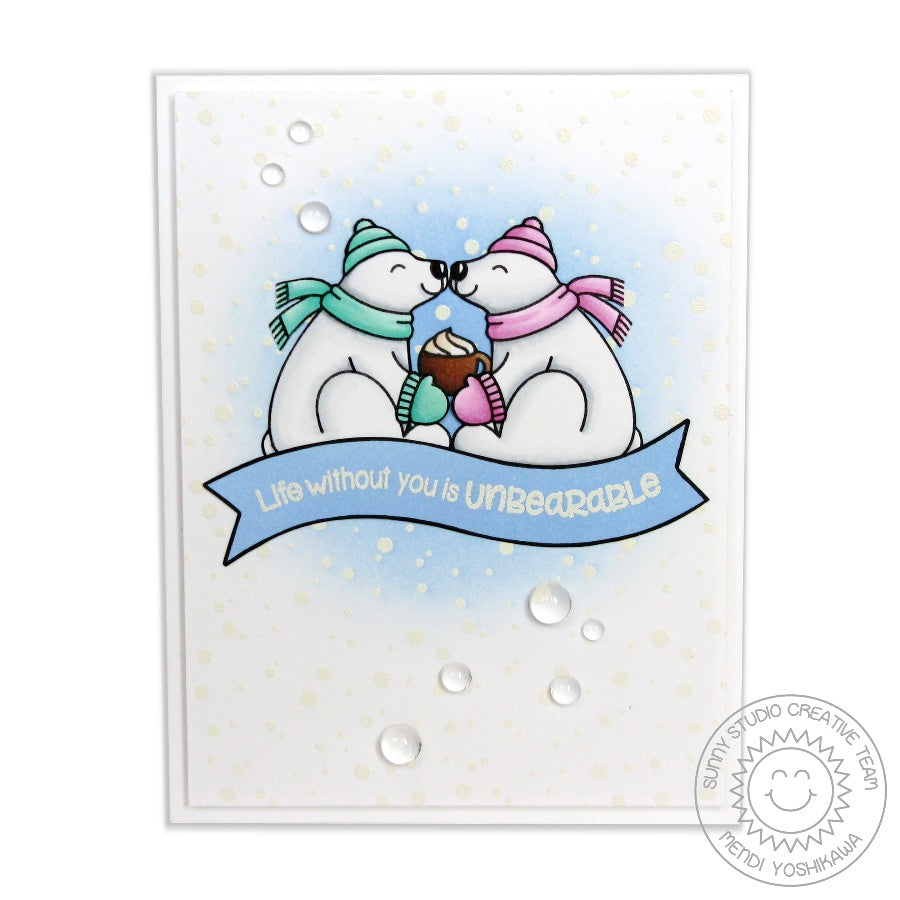 Sunny Studio Stamps Frosty Flurries & Polar Bears Snuggling love themed Card