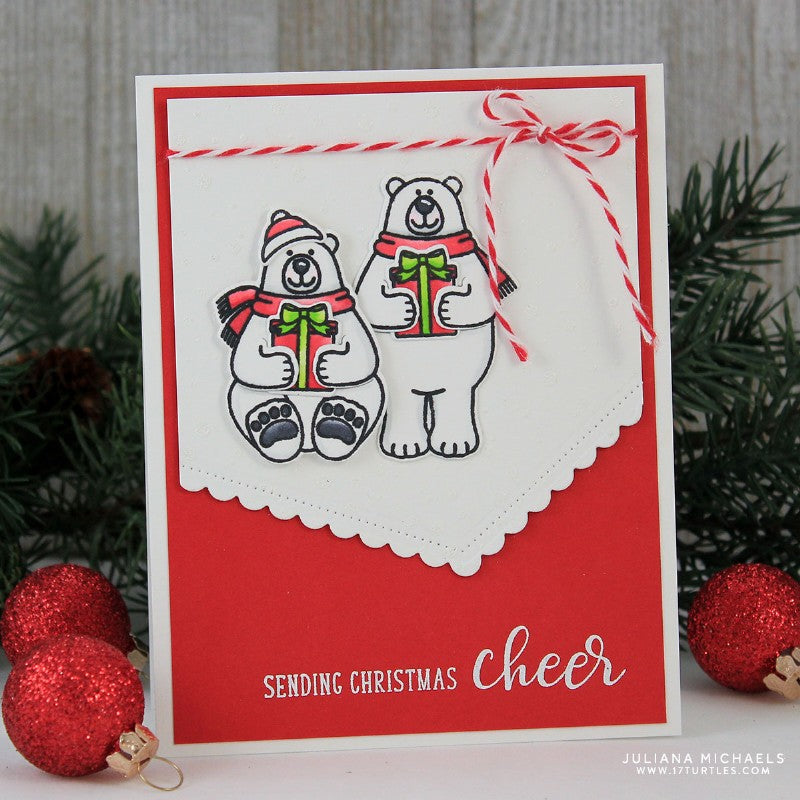 Sunny Studio Stamps Festive Greetings Christmas Cheer Polar Bear Card