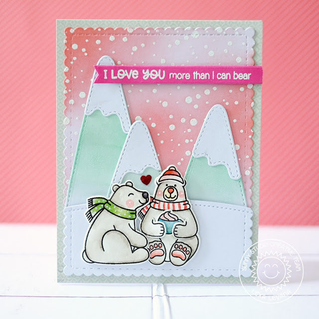 Sunny Studio Stamps Frosty Flurries Pink Polar Bear Holiday Card