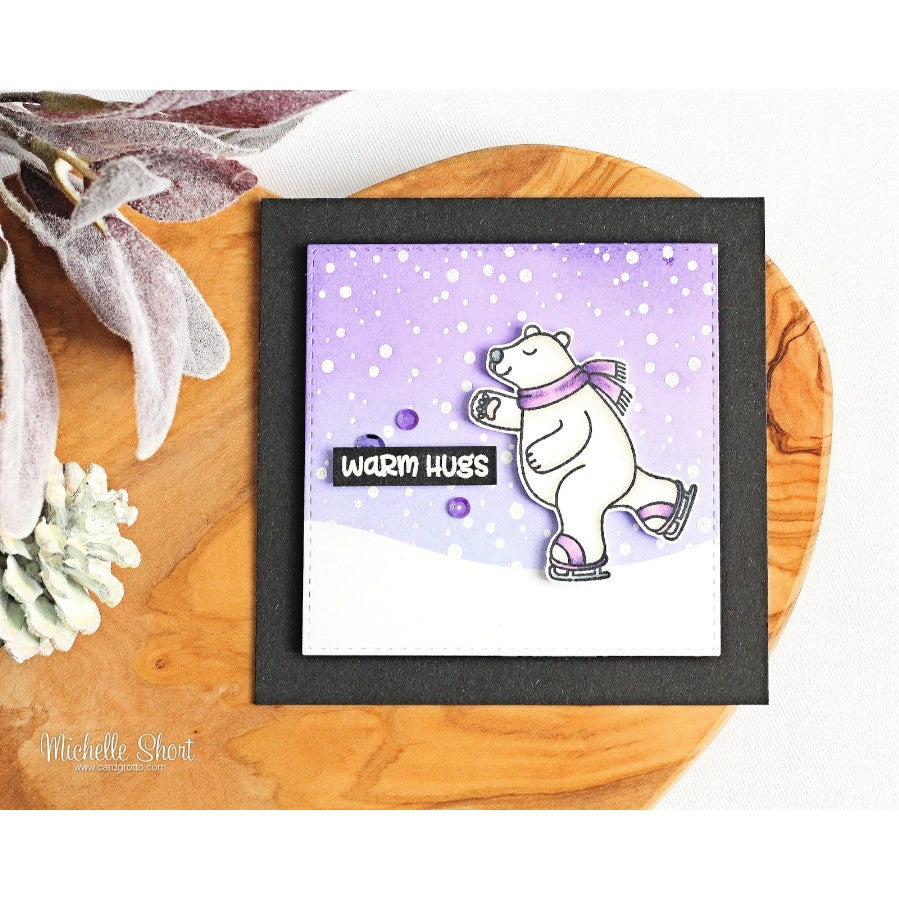 Sunny Studio Stamps Frosty Flurries Lavender Polar Bear Christmas Card