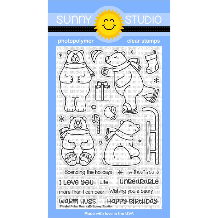 Sunny Studio Stamps Playful Polar Bears Winter Holiday 4x6 Photo-polymer Clear Stamp Set