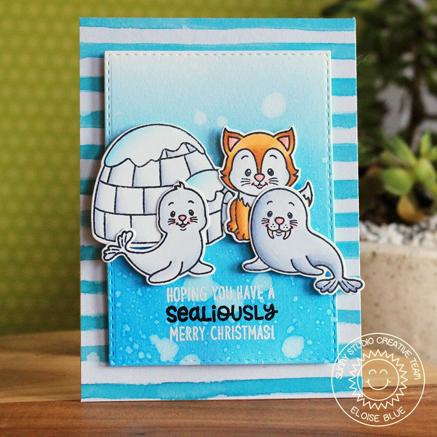 Sunny Studio Stamps Polar Playmates Striped Igloo, Seal & Walrus Christmas Card