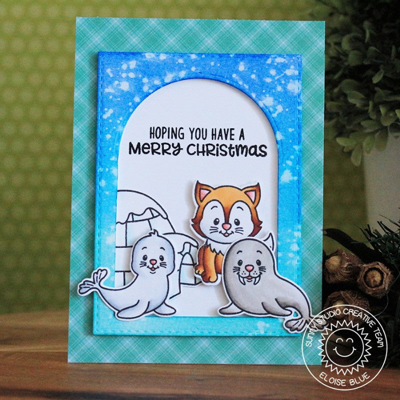 Sunny Studio Stamps Polar Playmates Husky, Walrus & Seal Christmas Card