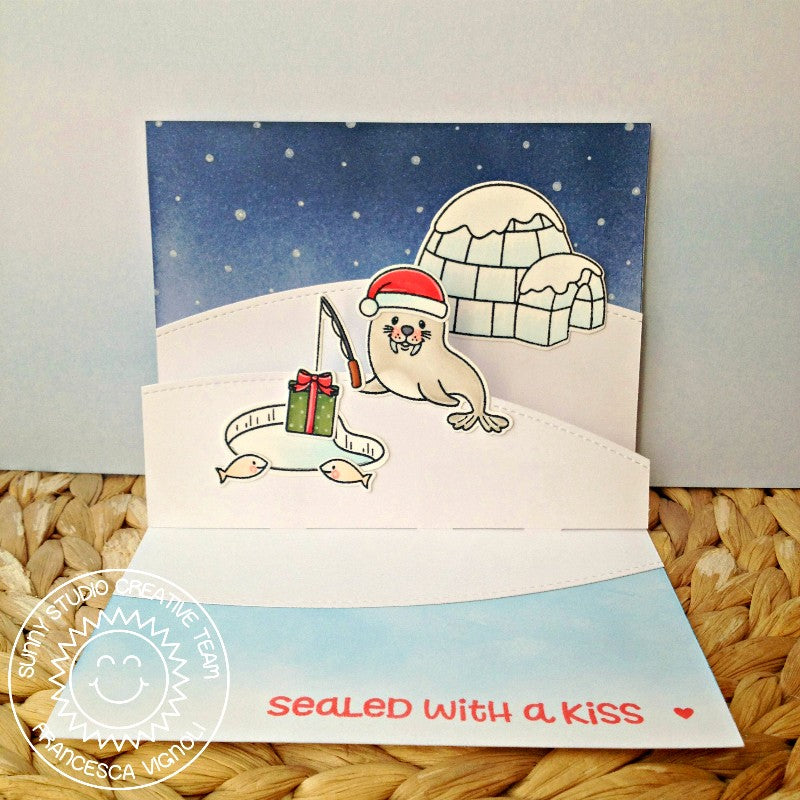 Sunny Studio Stamps Polar Playmates Pop-up Christmas Card by Franci