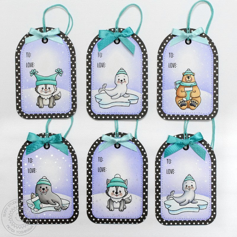 Sunny Studio Stamps Sunny Semi Circle Winter Holiday Gift Tags using Polar Playmates