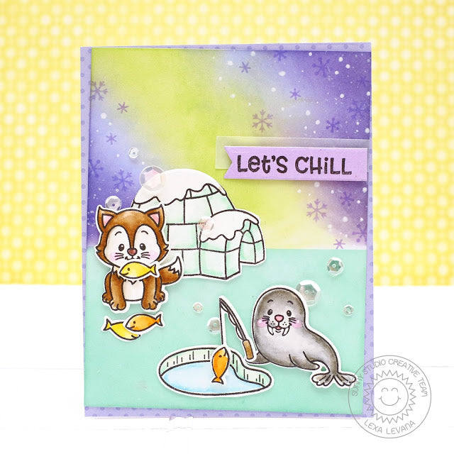 Sunny Studio Stamps Polar Playmates Let's Chill Ice Fishing Card by Lexa Levana