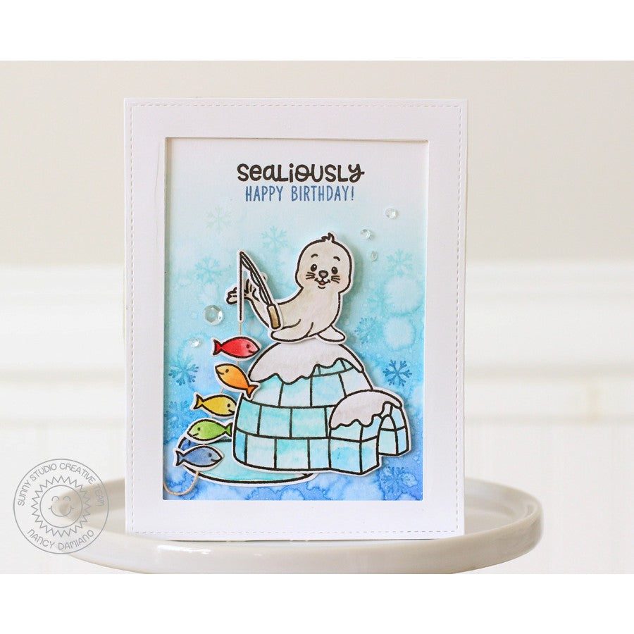 Sunny Studio Stamps Polar Playmates Sealiously Happy Birthday Rainbow Fish Card