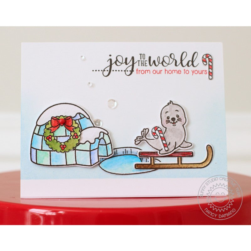 Sunny Studio Stamps Polar Playmates Joy To The World Seal Christmas Card