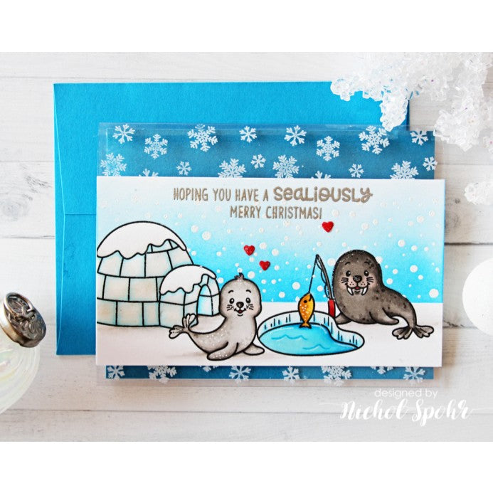 Sunny Studio Stamps Polar Playmates Seal & Walrus Ice Fishing Card
