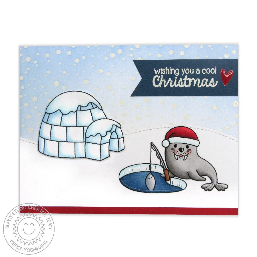 Sunny Studio Stamps Frosty Flurries Walrus Ice Fishing Christmas Card