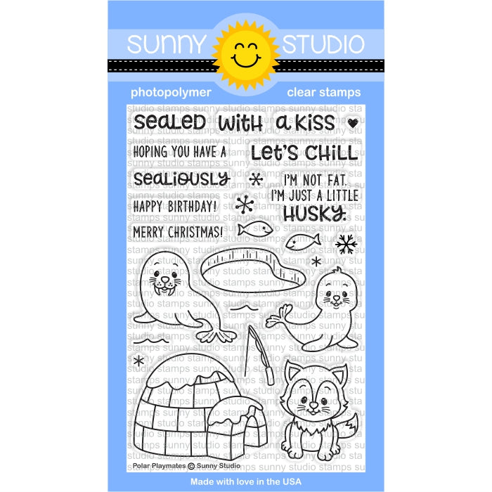 Sunny Studio Stamps Polar Playmates Winter Holiday Seal & Walrus 4x6 Photo-polymer Clear Stamp Set