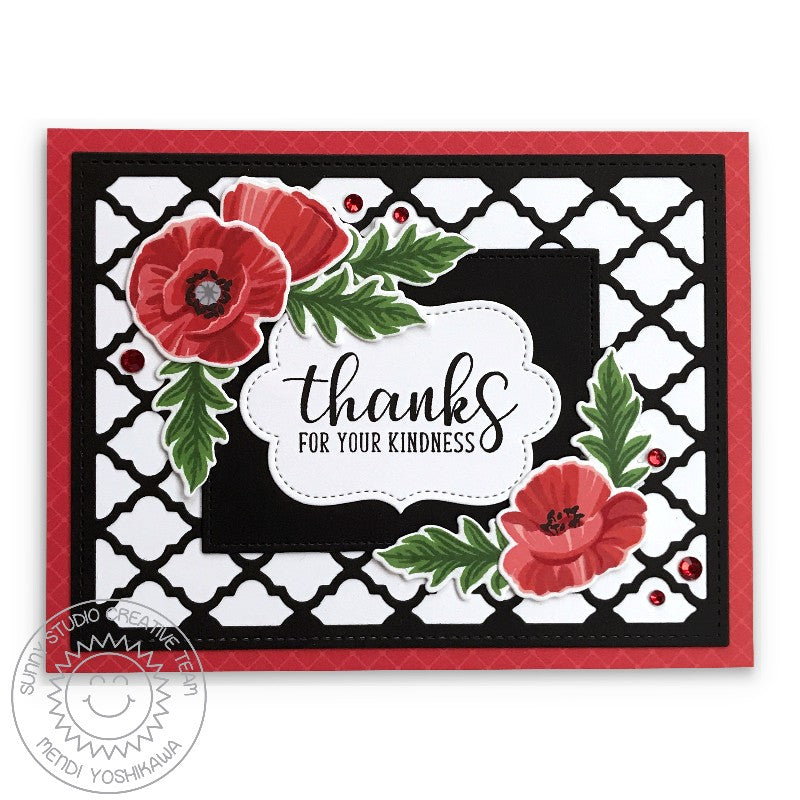 Sunny Studio Thanks for your Kindness Poppies B&W Quatrefoil Card Card (using Red Zircon Rhinestones Jewels)
