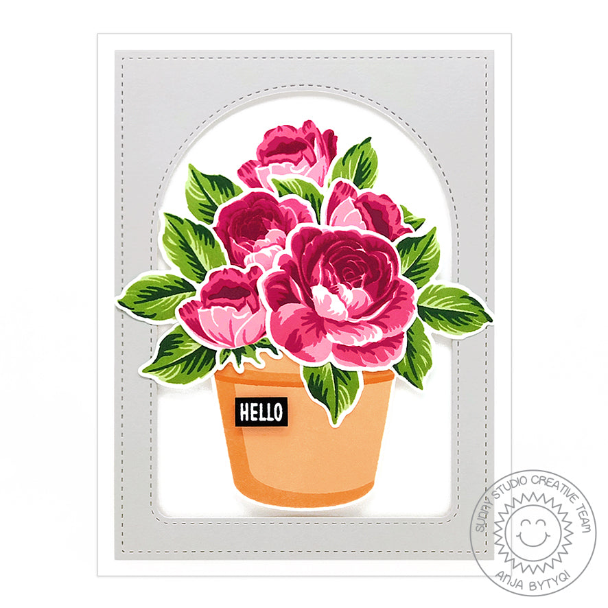 Sunny Studio Stamps Layered Roses in A Terracotta Pot Thinking Of You Handmade Hello Card (using Stitched Arch Nested Metal Cutting Dies)
