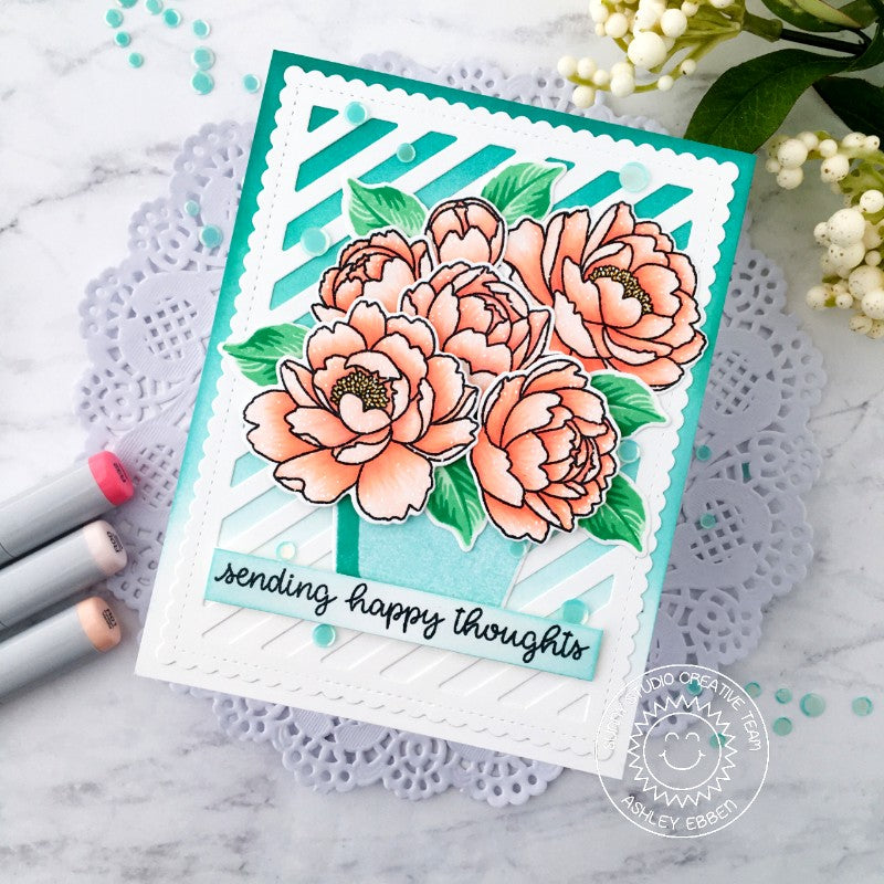 Sunny Studio Stamps Sending Happy Thoughts Peony Flowers Striped Scalloped Handmade Card (using Frilly Frames Stripes Background Backdrop Metal Cutting Dies)