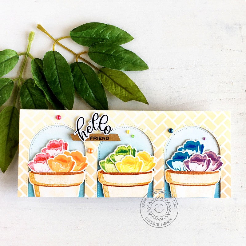 Sunny Studio Stamps Hello Friend Rainbow Roses in Flower Pots Handmade Slimline Card with brick background (using Frilly Frames Herringbone Metal Cutting Dies as a Stencil)
