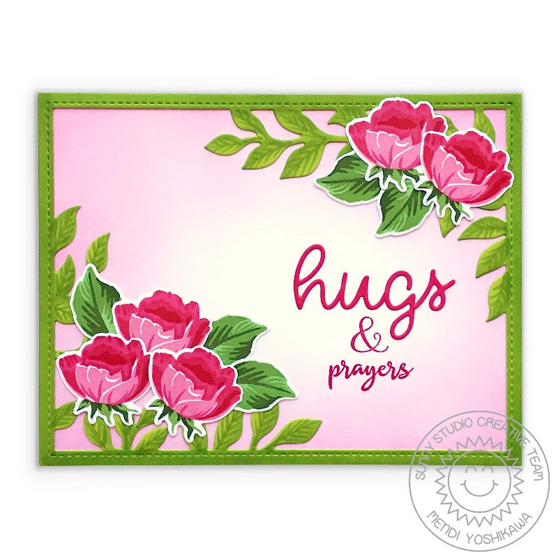 Sunny Studio Stamps Hugs & Prayers Pink, Red & Green Floral Layered Rose Handmade Card (using Botanical Backdrop Leafy Frame Background Metal Cutting Dies)