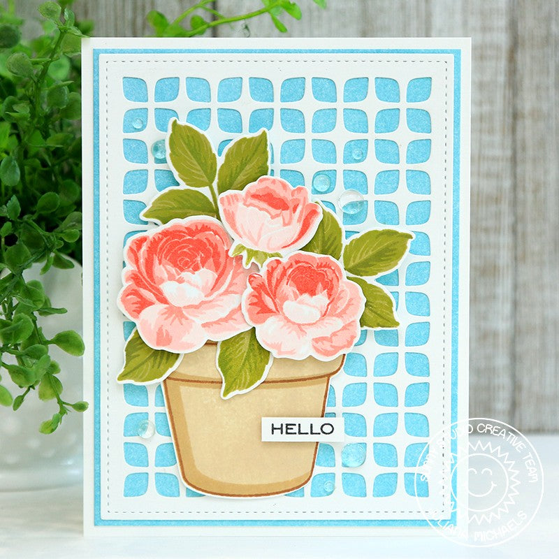 Sunny Studio Layered Potted Roses in Flower Pot Handmade Card by Juliana Michaels (using Frilly Frames Retro Petals Background Metal Cutting Dies)