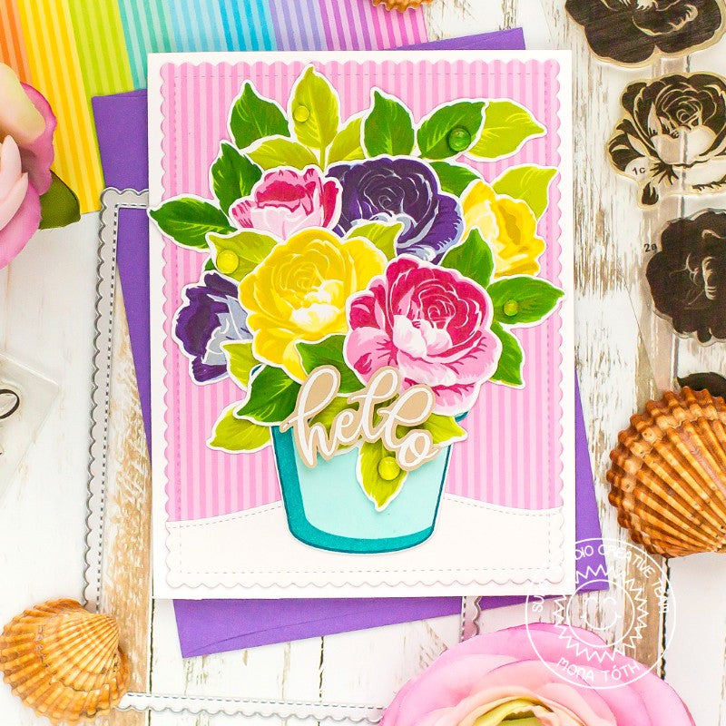 Sunny Studio Stamps Colorful Layered Floral Roses in Flower Pot Handmade Card (using Everything's Rosy 4x6 Clear Photopolymer Stamp Set)