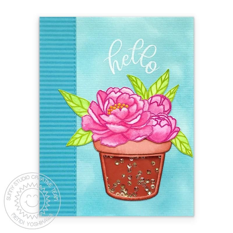 Sunny Studio Stamps Watercolor Pink Peonies in Flower pot Hello Handmade Sequin Shaker Card (using Potted Rose 4x6 Clear Photopolymer Stamp Set)