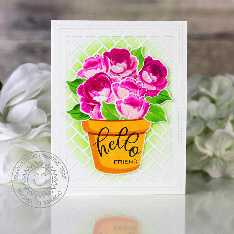 Sunny Studio Stamps Hello Friend Hot Pink Roses in Flower Pot Handmade Card with parquet background (using Frilly Frames Herringbone Metal Cutting Dies)