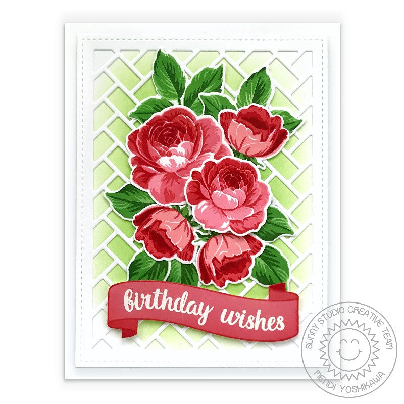 Sunny Studio Stamps Red Rose Bouquet with Birthday Wishes Banner Handmade Card (using Frilly Frames Herringbone A2 Background Backdrop Metal Cutting Dies)