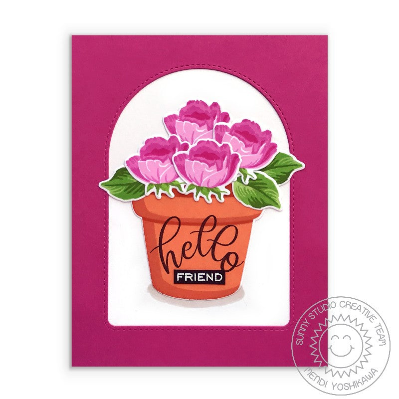 Sunny Studio Stamps Hello Friend Roses in Flower Pot Handmade Card (using Stitched Arch Metal Cutting Dies to create arched window)
