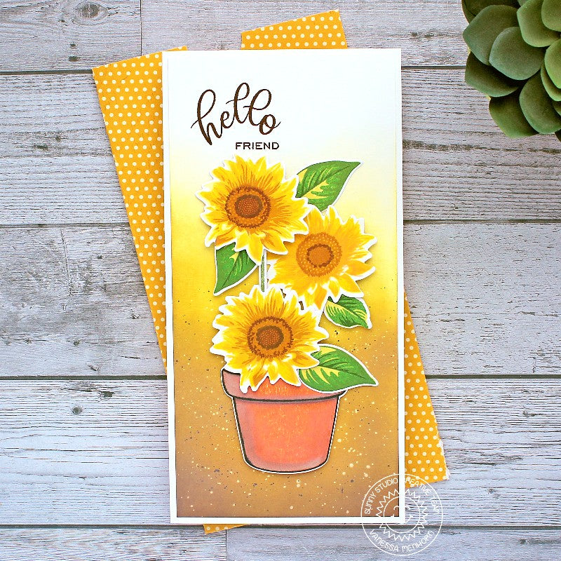 Sunny Studio Hello Friend Layered Sunflowers in Terracotta Pot Slimline Handmade DIY Greeting Card (using Sunflower Fields 4x6 Clear Photopolymer Stamp Set)