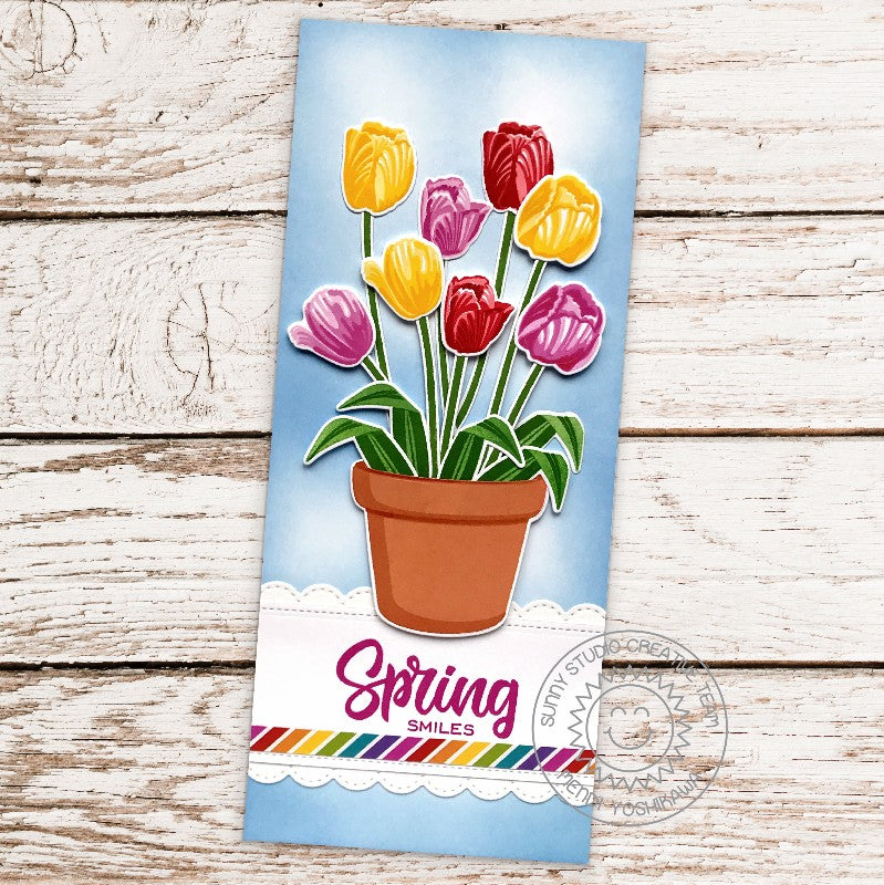 Sunny Studio Stamps Spring Smiles Timeless Tulips Slimline Handmade Card (using Potted Rose Terracotta Pot 4x6 Clear Photopolymer Stamp Set)